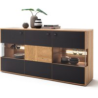 Valencia LED Wooden Sideboard In Bianco Oak And Anthracite