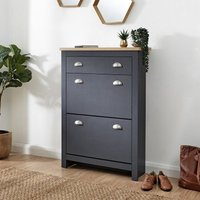Product photograph showing Valencia Shoe Storage Cabinet In Slate Blue And Oak