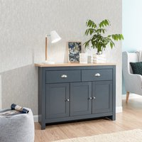 Product photograph showing Valencia Sideboard In Slate Blue And Oak With 3 Doors 2 Drawers