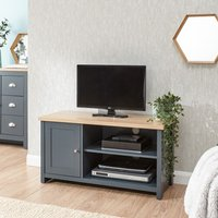 Product photograph showing Valencia Wooden 1 Door Small Tv Stand In Slate Blue And Oak