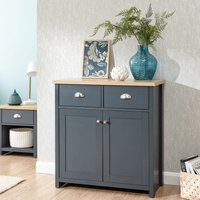 Product photograph showing Valencia Wooden 2 Doors Compact Sideboard In Slate Blue And Oak