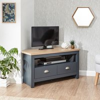 Product photograph showing Valencia Wooden 2 Drawers Corner Tv Stand In Slate Blue And Oak