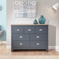 Product photograph showing Valencia Wooden Chest Of Drawers Wide In Salte Blue And Oak