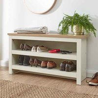 Valencia Wooden Shoe Bench In Cream And Oak