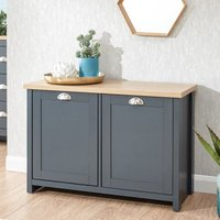 Product photograph showing Valencia Wooden Shoe Cabinet In Slate Blue And Oak With 2 Doors