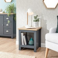 Product photograph showing Valencia Wooden Side Table With Shelf In Slate Blue And Oak
