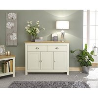 Valencia Wooden Sideboard In Cream With 3 Doors And 2 Drawers