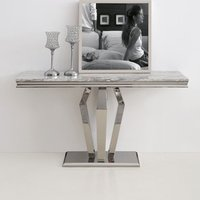 Product photograph showing Valentino Grey Marble Console Table With Silver Steel Legs