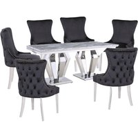 Product photograph showing Valentino Grey Marble Dining Set With 6 Black Leo Chairs
