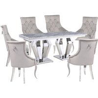 Product photograph showing Valentino Grey Marble Dining Set With 6 Grey Angelo Chairs