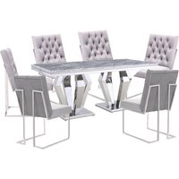Product photograph showing Valentino Grey Marble Dining Set With 6 Grey Dino Chairs