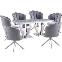 Product photograph showing Valentino Grey Marble Dining Set With 6 Grey Mario Chairs