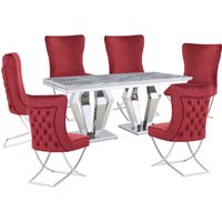 Product photograph showing Valentino Grey Marble Dining Set With 6 Red Cavalli Chairs