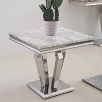 Product photograph showing Valentino Grey Marble Side Table With Chrome Steel Legs