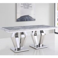 Product photograph showing Valentino Rectangular Marble Dining Table In Silver