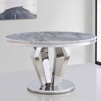 Product photograph showing Valentino Round Marble Dining Table In Silver