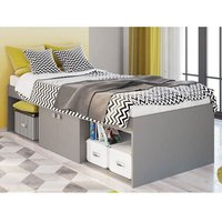 Product photograph showing Valerie Kids Low Sleeper Cabin Storage Bed In Grey