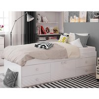 Valerie Single Bed In White With 2 Doors And 4 Drawers