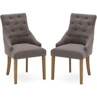 Product photograph showing Vanille Linen Dining Chair In Grey With Oak Legs In A Pair