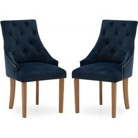 Product photograph showing Vanille Velvet Dining Chair In Blue With Oak Legs In A Pair