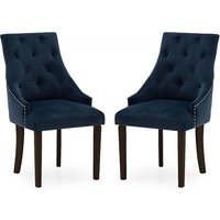 Product photograph showing Vanille Velvet Dining Chair In Blue With Wenge Legs In A Pair