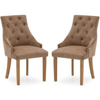 Product photograph showing Vanille Velvet Dining Chair In Cedar With Oak Legs In A Pair