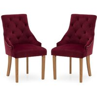 Product photograph showing Vanille Velvet Dining Chair In Crimson With Oak Legs In A Pair