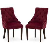 Product photograph showing Vanille Velvet Dining Chair In Crimson With Wenge Legs In A Pair