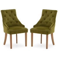 Product photograph showing Vanille Velvet Dining Chair In Moss With Oak Legs In A Pair