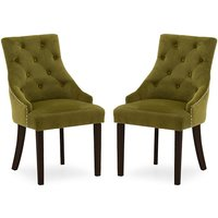 Product photograph showing Vanille Velvet Dining Chair In Moss With Wenge Legs In A Pair