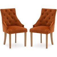 Product photograph showing Vanille Velvet Dining Chair In Pumpkin With Oak Legs In A Pair