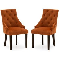Product photograph showing Vanille Velvet Dining Chair In Pumpkin With Wenge Legs In A Pair