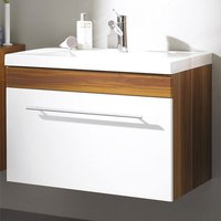Product photograph showing Impuls Walnut White Bathroom Vanity With Wash Basin