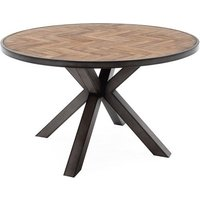 Vanya Round Wooden Dining Table In Light Brown With Metal Legs