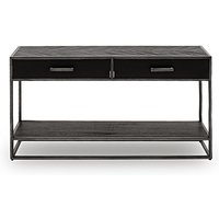 Product photograph showing Vanya Wooden Console Table In Dark Brown With Metal Legs
