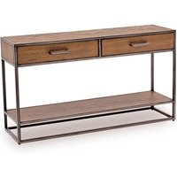 Product photograph showing Vanya Wooden Console Table In Light Brown With Metal Legs