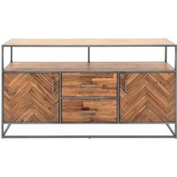 Vanya Wooden Sideboard In Light Brown With Metal Legs