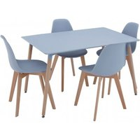 Varbor Wooden Dining Table With 4 Chairs In Grey