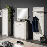 Varna Hallway Furniture Set In Structure Concrete Glossy White