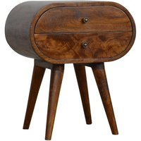 Vary Wooden Circular Bedside Cabinet In Chestnut With 2 Drawers
