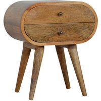 Vary Wooden Circular Bedside Cabinet In Oak Ish With 2 Drawers