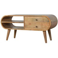 Product photograph showing Vary Wooden Circular Tv Stand In Oak Ish