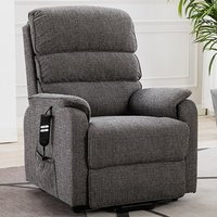 Product photograph showing Vauxhall Fabric Electric Riser Recliner Chair In Lisbon Grey