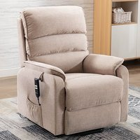 Product photograph showing Vauxhall Fabric Electric Riser Recliner Chair In Lisbon Wheat