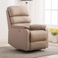 Product photograph showing Vauxhall Plush Electric Riser Recliner Chair In Pebble