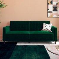Vectro Velvet Upholstered Pin Tufted Sofa Bed In Green