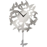 Product photograph showing Veeto Contemporary Butterfly Pendulum Wall Clock In Silver