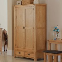 Velum Double Door Wardrobe In Chunky Solid Oak With 2 Drawers