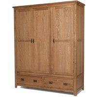 Velum Triple Door Wardrobe In Chunky Solid Oak With 2 Drawers