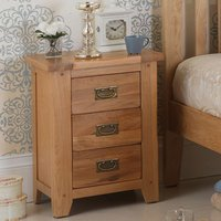 Velum Wooden Bedside Cabinet In Chunky Solid Oak With 3 Drawers